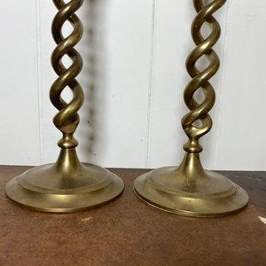 Vintage Accents - Vintage Mid Century Brass Twisted Candlesticks